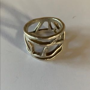Sterling silver ring with small diamonds